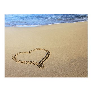 Heart in Sand Postcard