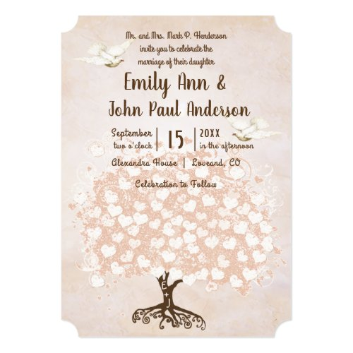 Heart Leaf Pale Dogwood Pink Tree Dove Wedding Invitation