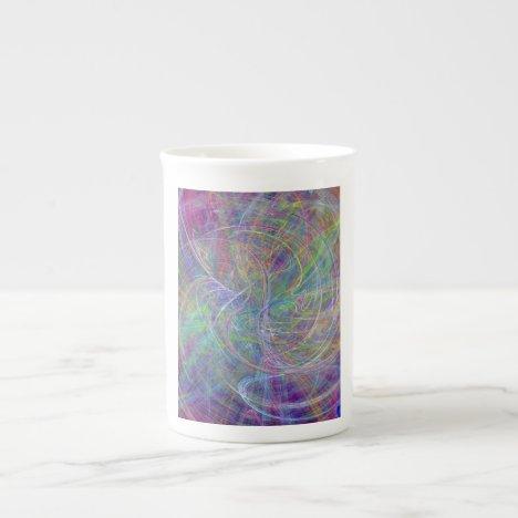 Heart of Light – Aqua Flames & Indigo Swirls Tea Cup