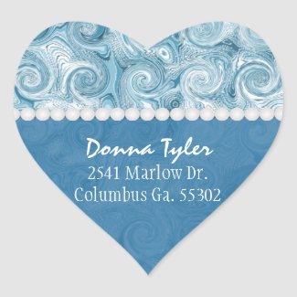 Heart Shaped: Beachy Blue Swirls: Address Stickers