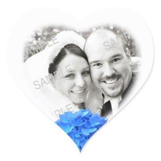 Heart Shaped Photo & Hydrangea Wedding Sticker sticker