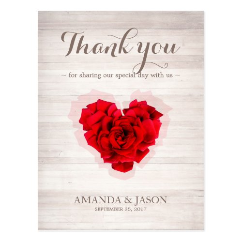 Heart shaped Red rose thank you card hhn01