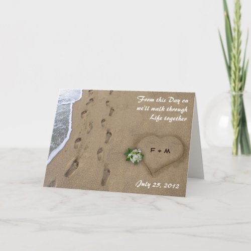 Heart & Tracks in the Sand Card
