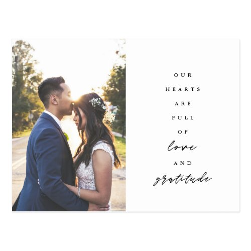 Hearts are Full Wedding Thank You Postcard