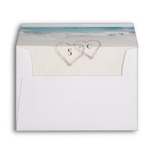 Hearts in the sand beach liner envelope