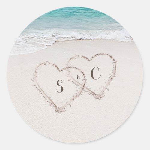 Hearts in the sand destination beach wedding classic round sticker
