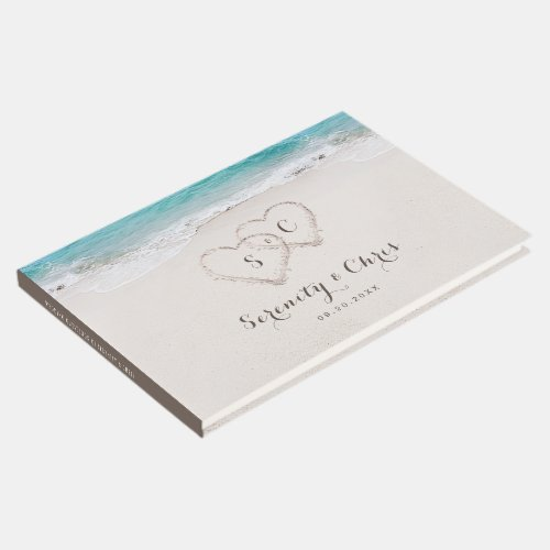 Hearts in the sand destination beach wedding guest book
