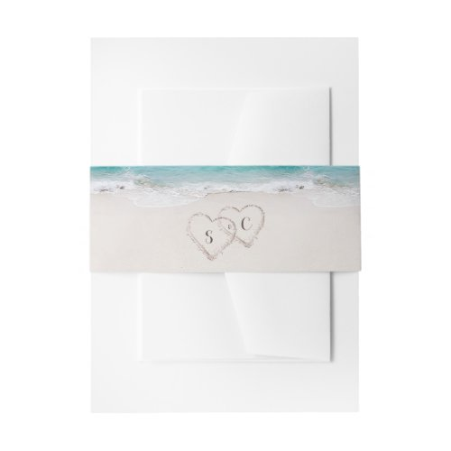 Hearts in the sand destination beach wedding invitation belly band