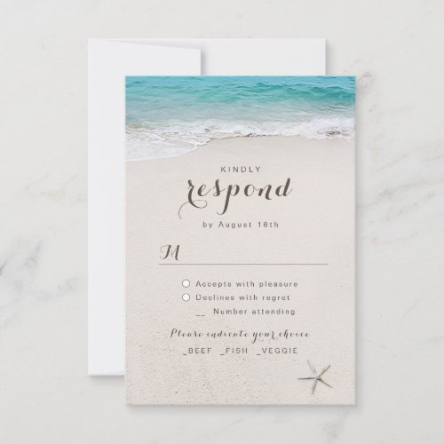 Hearts in the sand destination beach wedding RSVP card