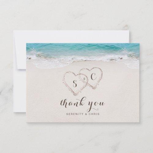 Hearts in the sand destination beach wedding thank you card