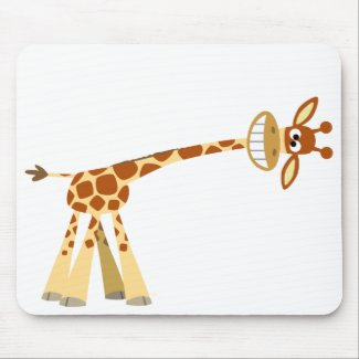 Hee Hee Hee!! cartoon giraffe mousepad mousepad