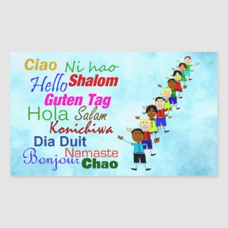 Hello In Many Languages Rectangular Sticker