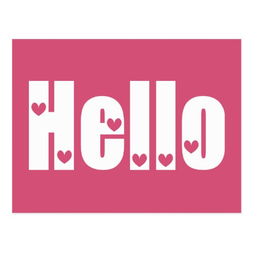 Hello Pink & White Hearts Love, Thinking of You Postcard