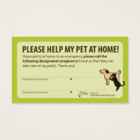 """HELP! I have Pets At Home"" Pet Alert Card"