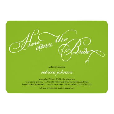 Here comes the bride - Lime Green Bridal shower Invitation