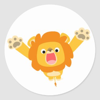 Here comes Trouble (cute cartoon Lion) sticker sticker