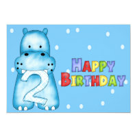 Hippo 2nd Birthday Invitations
