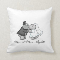 Hippo and Rhino Wedding Pillow