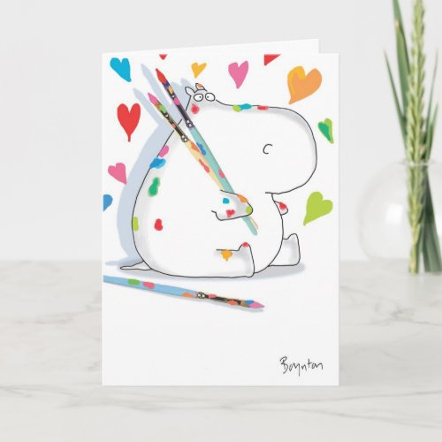 HIPPO ARTIST Valentines by Boynton Holiday Card