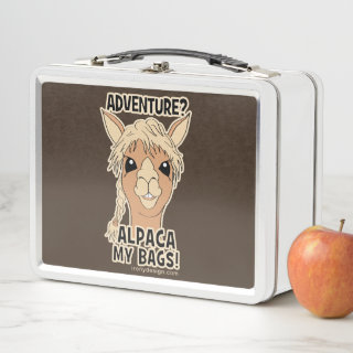Hipster Adventure Alpaca My Bags Pun Metal Lunch Box