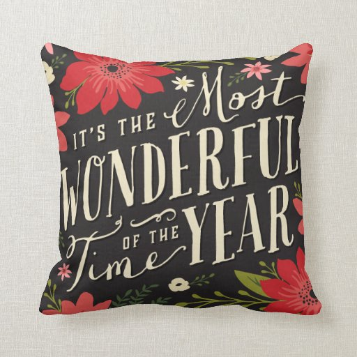 Holiday Floral Throw Pillow