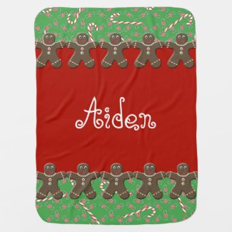 Holiday Gingerbread Men Custom Name Aiden Swaddle Blankets
