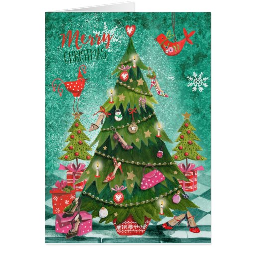 Holiday Girly Christmas Tree Greetings Cards Zazzle