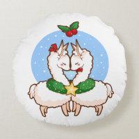 Holiday Love Llamas Round Pillow