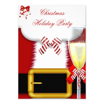 Holiday Party Christmas Santa Suit Champagne Card
