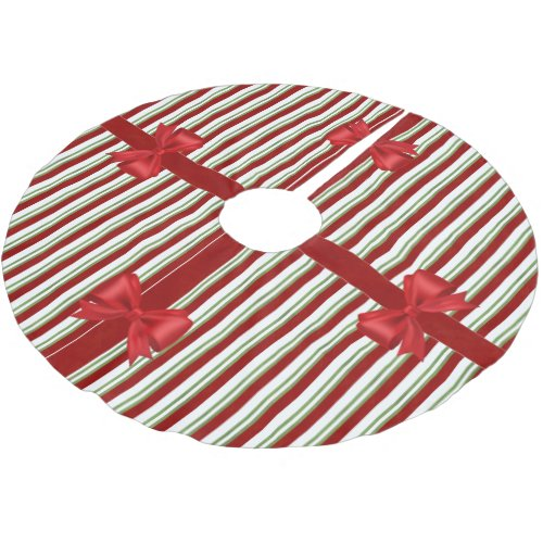 Holiday Stripes and Bows Brushed Polyester Tree Skirt