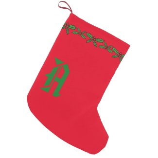Holly holiday small christmas stocking