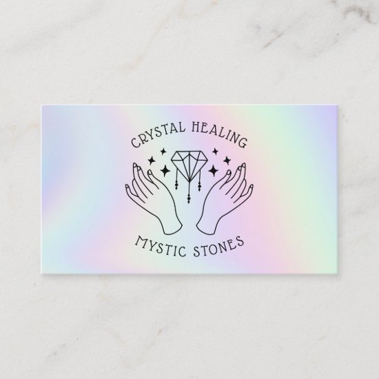 Holographic spiritual crystal healer mystic hands business card