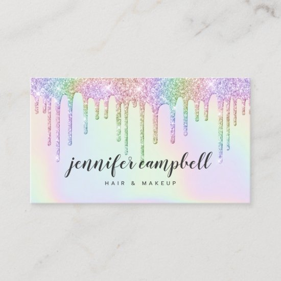 Holographic unicorn makeup hair glitter drips glam business card