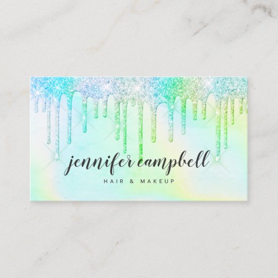 Holographic unicorn makeup hair mint glitter drips business card