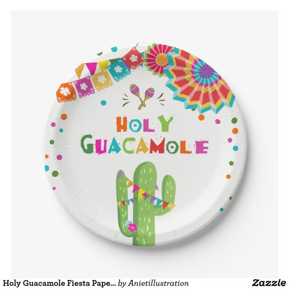 Holy Guacamole Fiesta Paper Plates Cactus Mexican