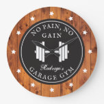 Home Gym Weightlifting Workout Rustic Wood Name Large Clock