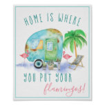 Home Is Where You Put Your Flamingos | Watercolor Poster