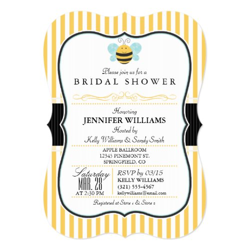 Honey Bee Bridal Shower Invite; Yellow Stripes Invitation