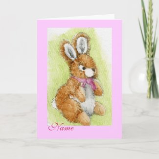 """Honey Bunny"" Happy Birthday! cuddly toy Greeting Cards"