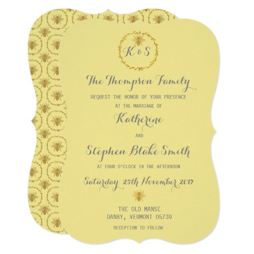 Honey Toffee Gold Foil Golden Bees Wedding Invitation