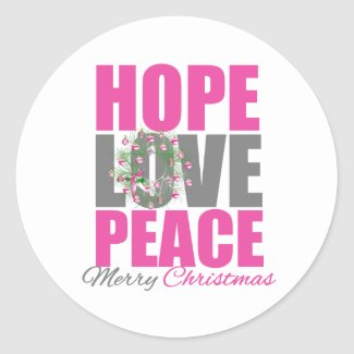 Hope Love Peace Merry Christmas Wreath sticker