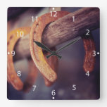 Horseshoes on Barn Wood Cowboy Country Western Square Wallclock
