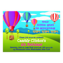 Hot Air Balloons 6th Birthday Party Invitation