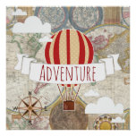 Hot Air Balloons Vintage World Adventure Poster