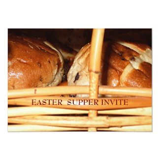 "Hot Cross Buns Easter Basket #2 5"" X 7"" Invitation Card"