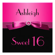 Hot Pink and Black Sweet Sixteen Invitation