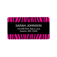 Hot Pink and Black Zebra Return Address Label