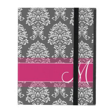 Hot Pink and Charcoal Damask Pattern with Monogram iPad Folio Case