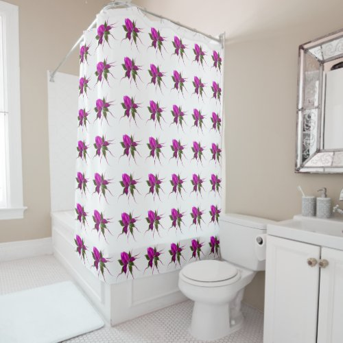 Hot Pink Bloom Tiled Shower Curtain