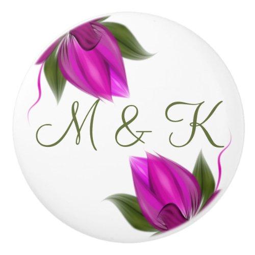 Hot Pink Floral Initials Ceramic Knob